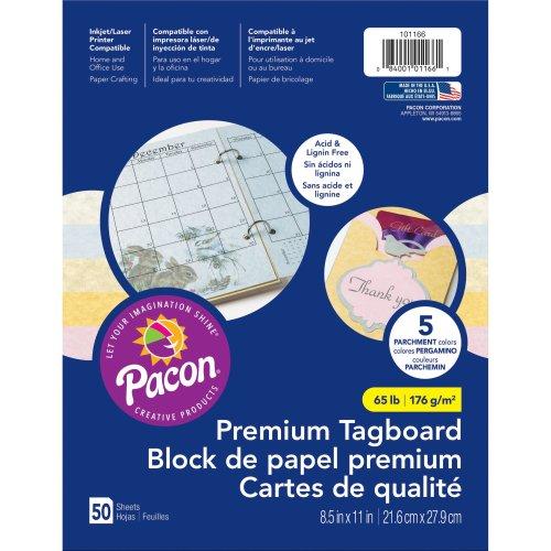 "Pacon Premium Tagboard Paper 8.5""X11"" 50 Sheets/Pkg-Parchment Assorted Colors"