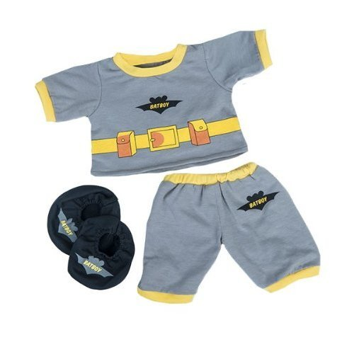 "Batboy PJ's W/Slippers Teddy Bear Clothes Outfit Fits Most 14"" - 18"" Build-A-Bear, Vermont Teddy and Make Your Own Stuffed Animals"