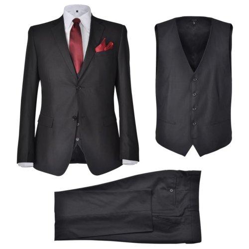 vidaXL 3 Piece Men's Business Suit Size 50 Black Blazer Waistcoat Trousers