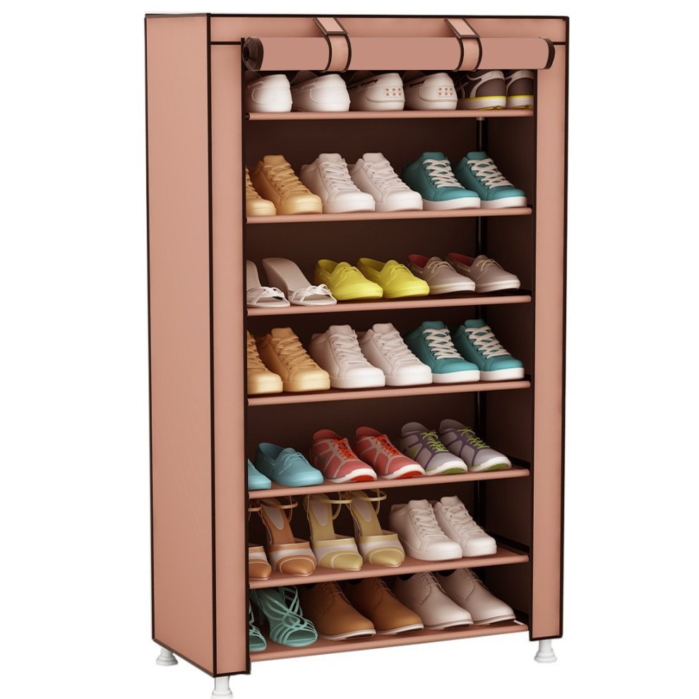 Udear Shoe Rack Storage Organizer Shelf Cabinet Stand With Fabric Dustproof Cover 8 Tiers For 21 Pairs Of Shoes Brown 60 X 30 126 Cm On