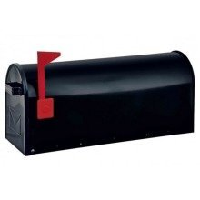 American USA Stylish Black Steel Mailbox Red Flag Rottner