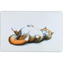 Trixie Thick Cat Print Place Mat, 44 x 28 Cm, White - Mat Bowlscm -  cat mat trixie place bowls thick 44 cm