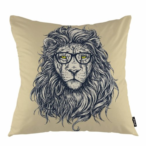 """Melyaxu Lion Throw Pillow Cover Glasses Lion Male Cat Animal Decorative Square Pillow Case 18""""X18"""" Pillowcase Home Decor for Sofa Bedroom"""
