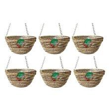 6 X Kingfisher Hb12Rr 12-Inch/30  cm Rope Hanging Basket - Beige
