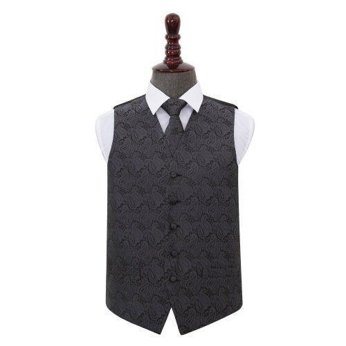 Charcoal Grey Paisley Wedding Waistcoat & Tie Set 38'