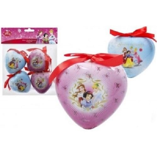Pack of 4 Disney Princess 8cm Christmas Tree Decorations, Baubles