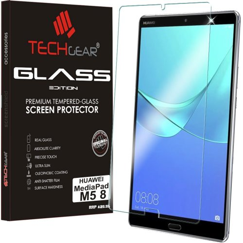 "TECHGEAR GLASS Edition fits Huawei MediaPad M5 8 (8.4"" Screen) - Genuine Tempered Glass Screen Protector Guard Cover Compatible with Huawei..."