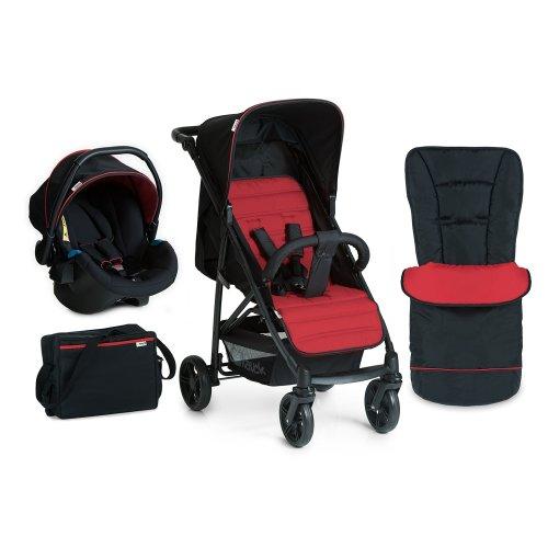 Hauck Rapid 4 Plus Shop-n-Drive Set Quick Fold Travel System, from Birth to 22 Kg, Black/Red (Group 0+ Car Seat, Compatible with Optional ISOFix...