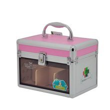 Useful Family Medicine Chest Portable Locker Metal Medicine Cabinet Pink 5.9''