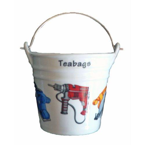 Power Tools Design Bucket Teabag Tidy, Porcelain Bucket Teabag Tidy