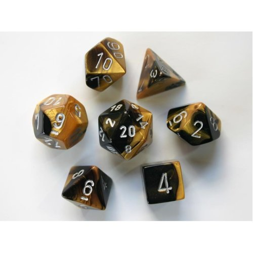 Chessex Gemini Polydice Set - Black-Gold w/silver