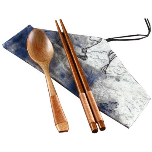 Japaness Kitchen Tableware Dinnerware Flatware Eco friendly Wood Cutlery Wooden Dinner Set #6