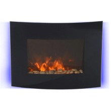 Homcom Curved LED Electric Fire | Wall-Mounted Colour Changing Heater