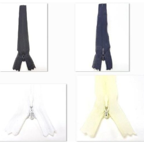 Closed End Nylon Auto-Lock Invisible / Concealed Zip - No. 3 - Choice of Sizes & Colours