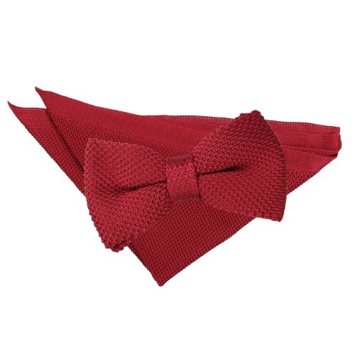 Burgundy Knitted Bow Tie & Pocket Square Set