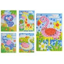Rare Animals Crystal Sticky Mosaics for Kids Mosaic Painting, 5 Pics