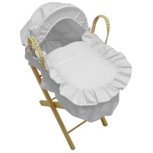 Broderie Anglaise Dolls Moses Basket With Stand Butterfly White
