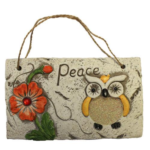 Garden Hanging Wall Plaque - Owl Design with Glitter Detail - Orange Flower Owl - Peace