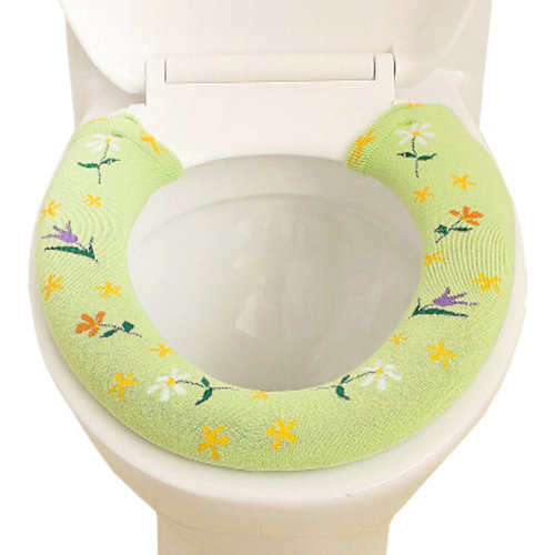Bathroom Toilet seat cover With Button,Warmer/Soft/Comfy Thick Cushion Green