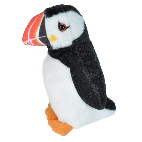 Wild Republic 19600 Atlantic Puffin with Authentic Bird Sound, Soft Toy for Kids, 13cm, Black-White