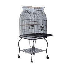 Pawhut Large Metal Bird Cage Aviary Budgies Birds Stand Feeding Station W/ Wheels (53l X 52w X156h)