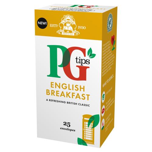 Pg Tips English Breakfast Enveloped Tea Bags 25s