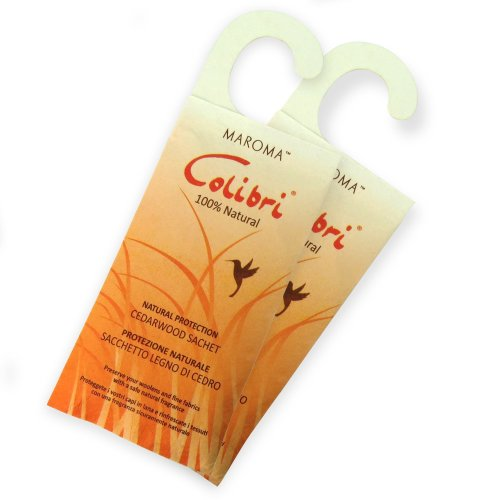 HANGERWORLD 2 Hanging Natural Cedar Wood Moth Insect Repellent Sachets Packets Wardrobe Cloakroom.