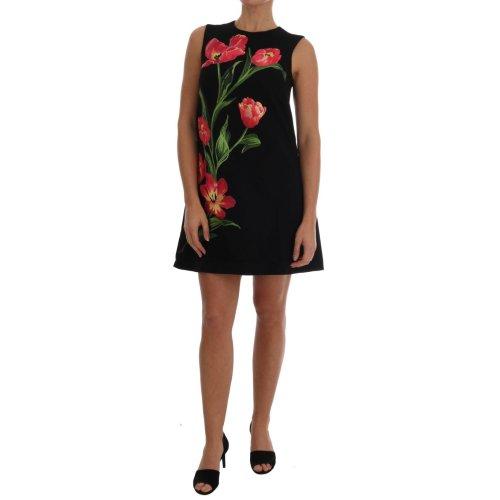 c391936e Dolce & Gabbana Black Wool Stretch Pink Tulip Print Dress on OnBuy