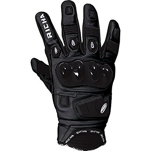 Richa Rock Black Short Leather Sports Summer Motorcycle Gloves