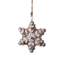 Large Hanging Brown Wooden Snowflake Christmas Tree Decoration with Bells
