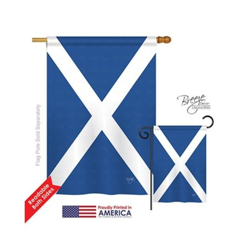 Breeze Decor 08076 St. Andrews Cross 2-Sided Vertical Impression House Flag - 28 x 40 in.