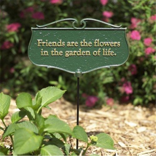 Friends are the Flowers Garden Poem Sign - Gold & Green