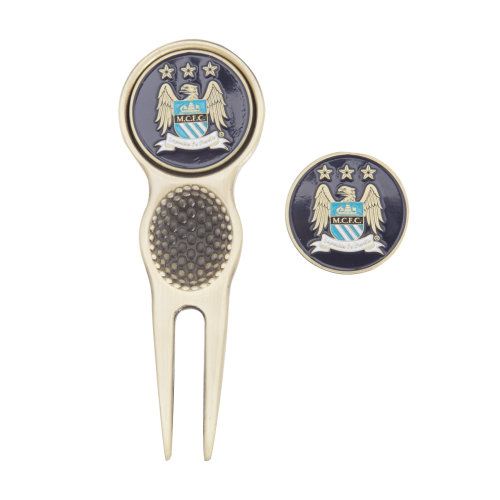 Manchester City FC Official Football Crest Golf Divot Tool & Ball Markers Gift Set