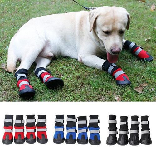 4Pcs Waterproof Pet Dog Shoes Anti-Slip