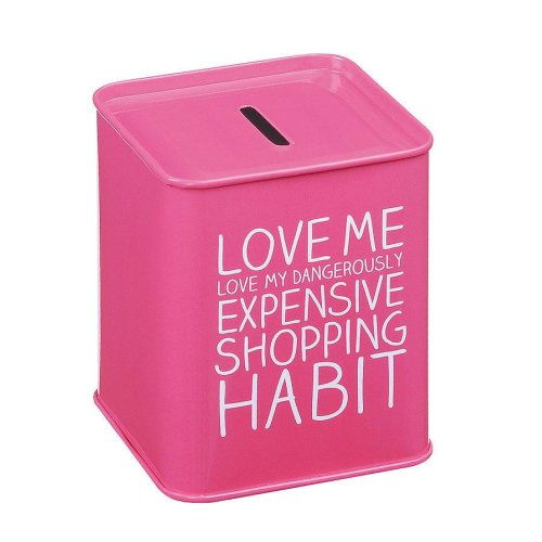 Happy Jackson Expensive Shopping Habit Pink Money Box Piggy Bank Metal Tin