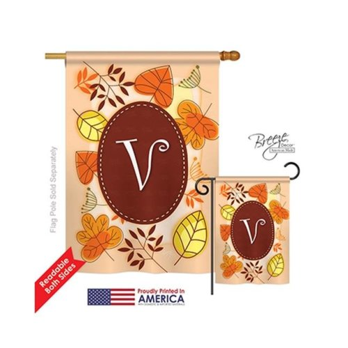 Breeze Decor 30048 Autumn V Monogram 2-Sided Vertical Impression House Flag - 28 x 40 in.