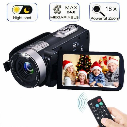 "Digital Camcorder with IR Night Vision, iBacakys Portable Mini Handheld Video Camera 24.0 Mega Pixels DV 3"" LCD Screen 18X Digital Zoom ((Two..."