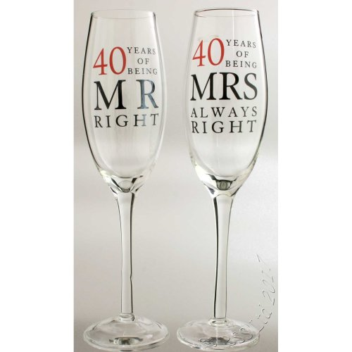 40th Wedding Anniversary Mr & Mrs Right Champagne Glasses Gift Set WG80640