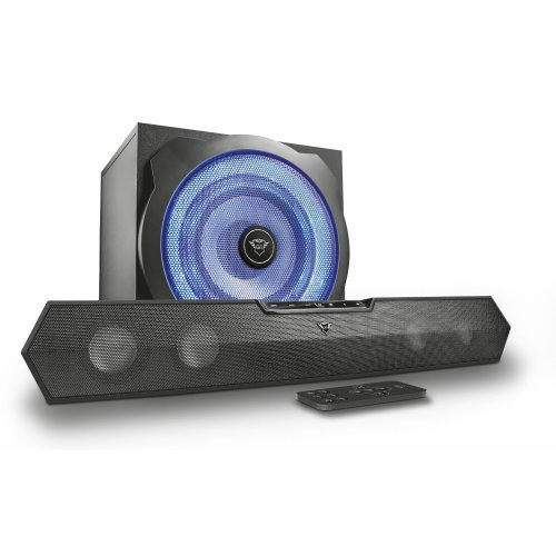 Trust Gaming 22329 GXT 668 2 1 Soundbar Speaker System with Subwoofer for  PC, PS4 and Xbox One, LED Illuminated, Black