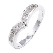 Sterling Silver Channel Set Wishbone Cubic Zirconia Ring - Size L