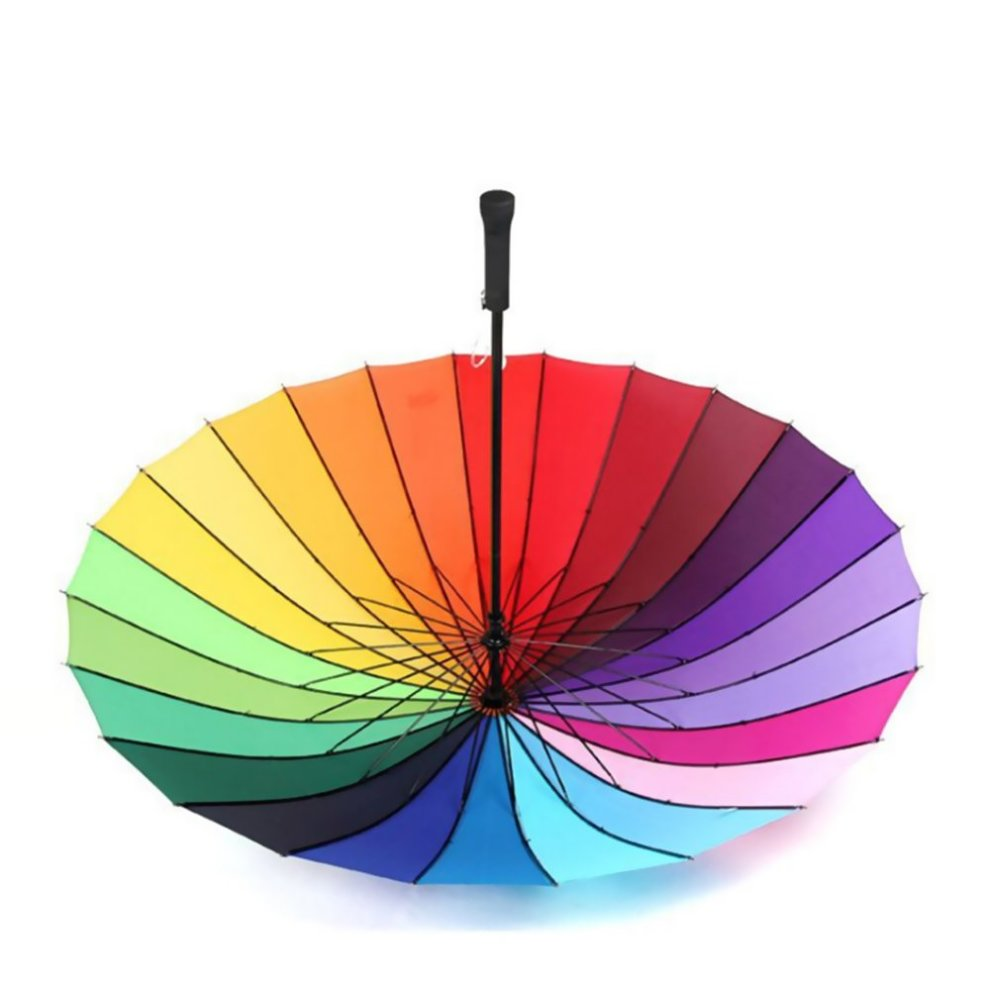 c8066c5ffffa6 ... MENGCORE 24k Rib Large Color Rainbow Umbrella Fashion Long Handle  Straight Anti-UV Sun/ ...