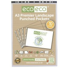 A3 PREMIER QUALITY LANDSCAPE PUNCHED POCKETS CLEAR SLEEVE WALLETS ECO014