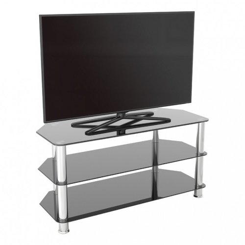 """King Glass TV Stand 100cm, Chrome Legs, Black Glass, for TVs up to 50"""""""