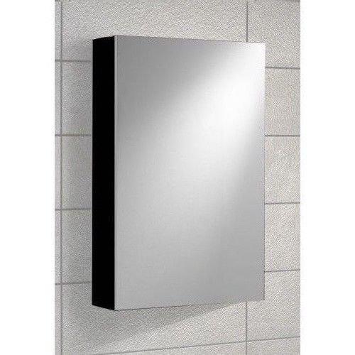 Bathroom Black Gloss Mirror Cabinet - 400 mm 1 Door - Wall Mounted