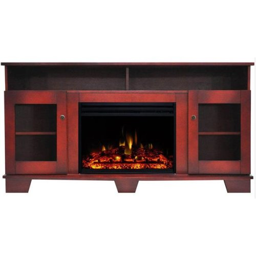 Cambridge CAM6022-1CHRLG3 Savona Electric Fireplace Heater with 59 in. Cherry TV Stand Enhanced Log Display, Multi Color Flames & Remote