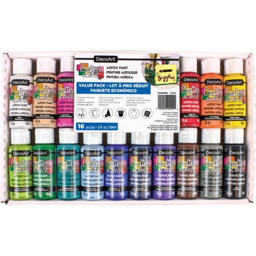 Americana Acrylics Value Pack 16/Pkg-Assorted Colors