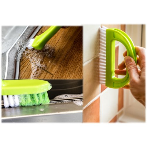 3 in 1 Grout Brush Cleaning Tool Super Kitchen & Bathroom Scrubbing Brush Cleaner Stiff Angled Bristles Make Cleaning Joints and Grooves Easy! Multi Functional Small Cleaning Tool and Brushes Perfect For Around The Home - Make Removing Mould Dirt & G