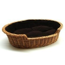 Medium Large Willow Dog Cat Pet Wicker Basket Dark Cushion