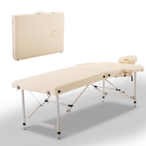 HOMCOM Foldable Massage Table, 185Lx70Wx59-80H cm, Aluminium-White