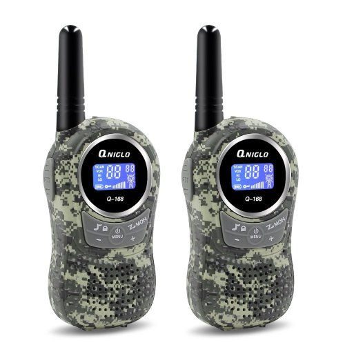 QNIGLO Walkie Talkies for Kids 2 Way Radio Long Range 22 Channels Kids Walkie Talkies Outdoor Camping Toys Gifts for Boys Girls (Camouflage Green)